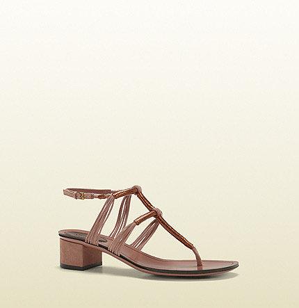 Anita Metallic Leather And Suede Low-Heel Thong Sandal