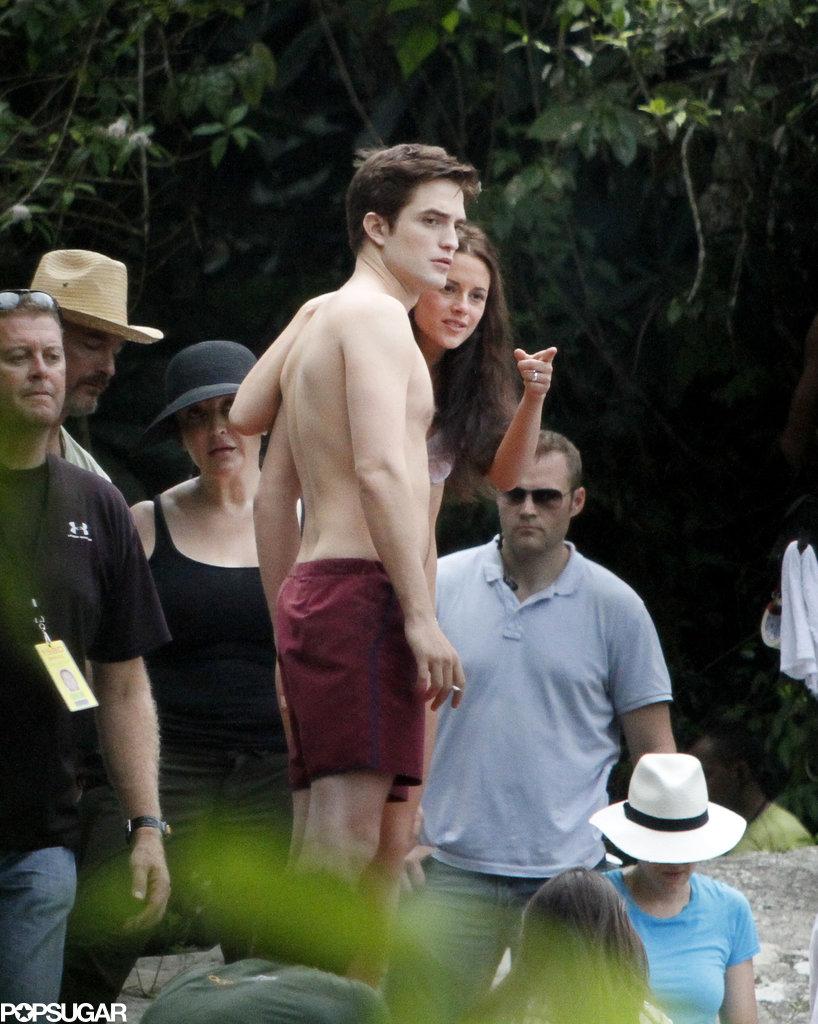 Robert Pattinson went shirtless while working in Brazil in November 2010.