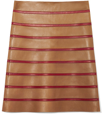 Preorder Marc Jacobs Leather A-Line Skirt With Contrast Stripes