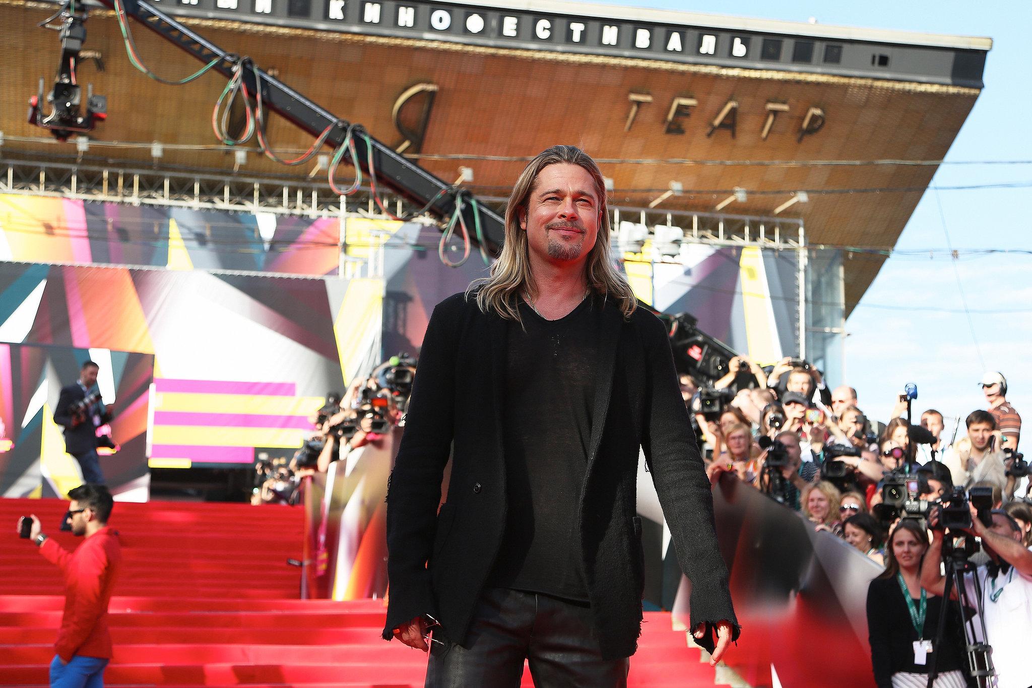 Brad Pitt attended the screening of World War Z in Russia.