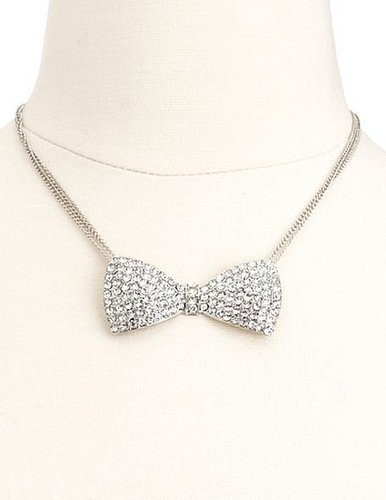 Rhinestone Bow Tie Necklace