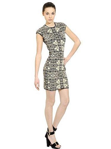 Wool Viscose Jacquard Knit Dress