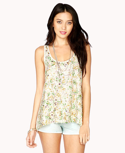 FOREVER 21 Sequined Cutout Tank