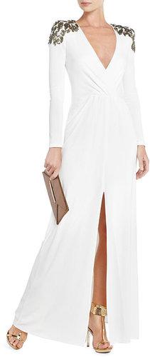 Anna Sequin-Shoulder Evening Gown