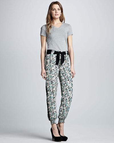 PJK Belted Floral-Print Pants