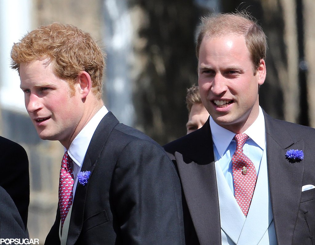 Prince William and Harry wore tuxedos.