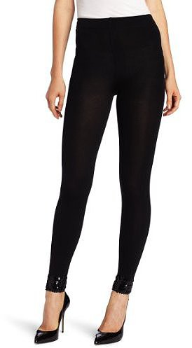 Betsey Johnson Women's Glam Luxe Sequin Cuff Fleece Lined Legging