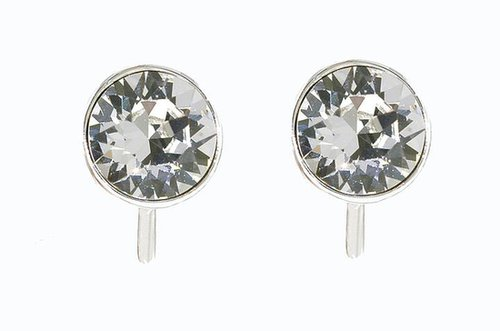 Lilli & Koe Rhodium & swarovski crystal stud clip earrings