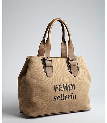 Fendi tobacco canvas and leather accent oversized tote