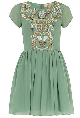 Mint green embellished dress