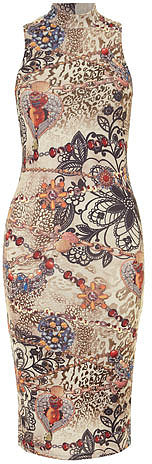 Beige jewellery printed dress