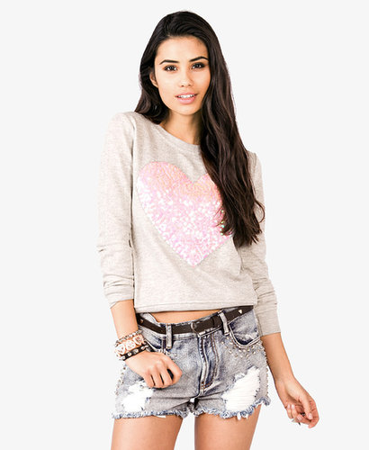 FOREVER 21 Sequined Heart Pullover