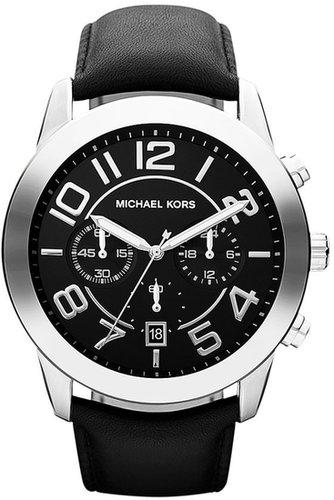 Michael Kors 'Mercer' Large Chronograph Leather Strap Watch, 45mm