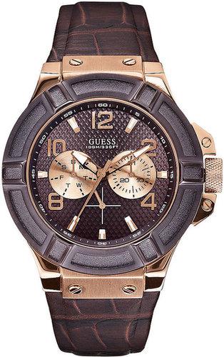 GUESS Watch, Men's Brown Croco Leather Strap 46mm U0040G3