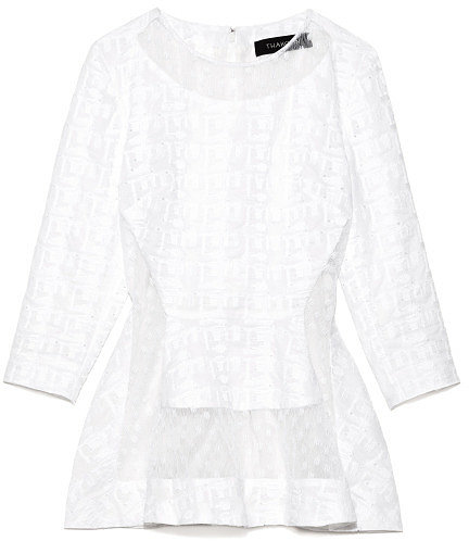 Preorder Thakoon Embroidered Poplin Top With Lace Inset