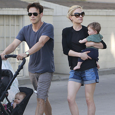 Stephen Moyer and Anna Paquin Take Their Twins For a Stroll
