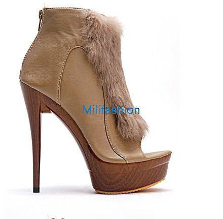 Brown hair fish high heel shoes sandals short boots_High shoes_Fashion shoes_Mili fashion Trade Co.Ltd