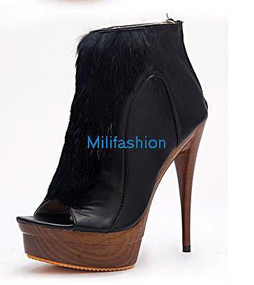Black wool fish shoes high heel sandals short boots_High shoes_Fashion shoes_Mili fashion Trade Co.Ltd