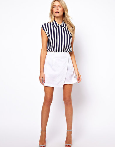 ASOS Linen Mini Skirt with Wrap Detail