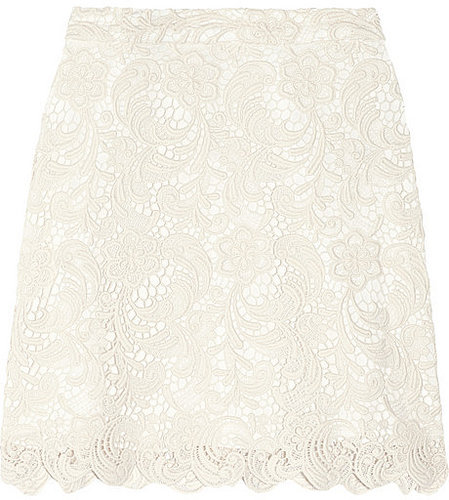 Alice + Olivia Lucia cotton-blend lace mini skirt