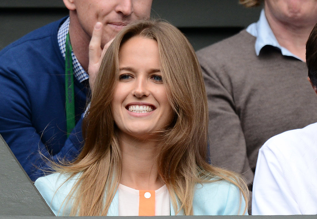 Kim Sears, who is the girlfriend of tennis player Andy Murray, took in the tennis at Wimbledon on Monday.