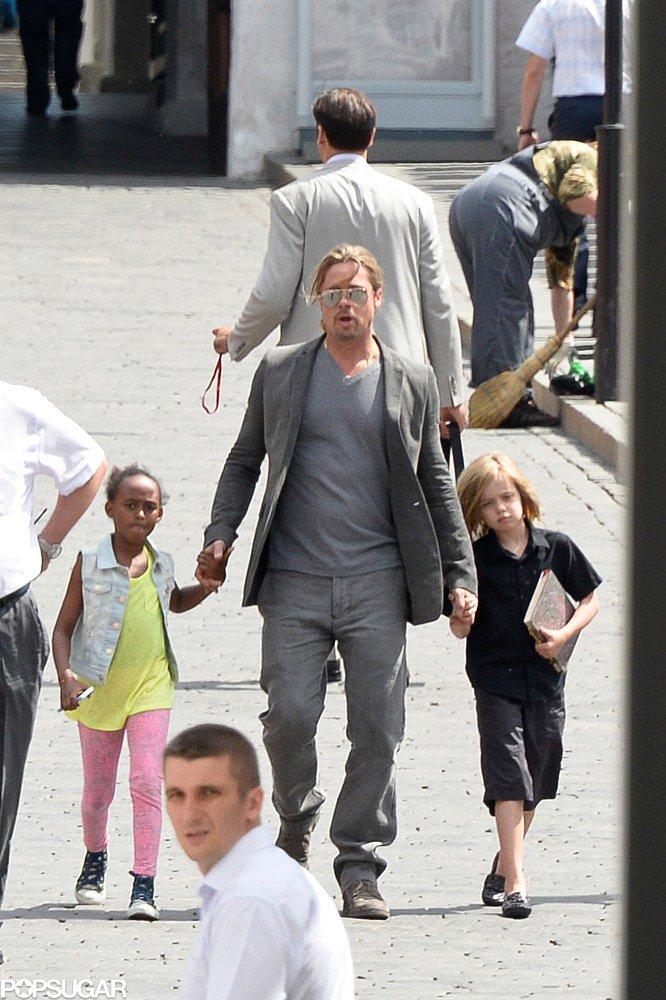 Brad Pitt took Shiloh and Zahara to the Moscow Film Festival on Friday.
