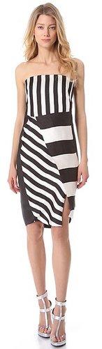Costume national Black & White Strapless Dress