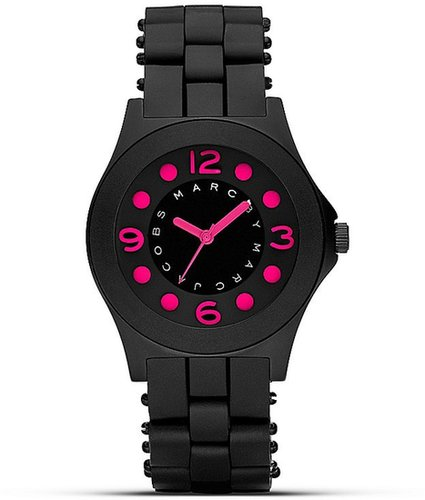 "MARC BY MARC JACOBS ""Pelly"" Black and Pink Silicon Watch, 36.5mm"