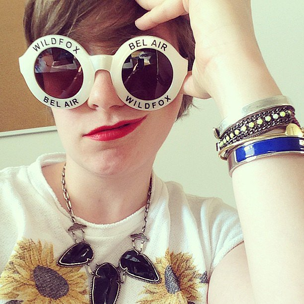 Lena Dunham broke from filming Girls to show off a sweet pair of Wildfox Couture shades. Source: Instagram user lenadunham