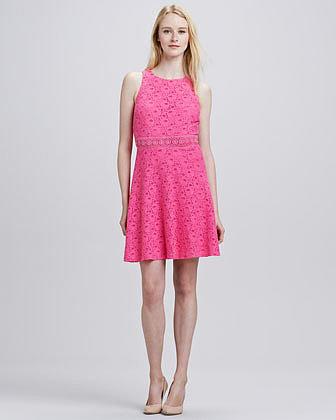 Laundry by Shelli Segal Lace Flare Back Cutout Dress
