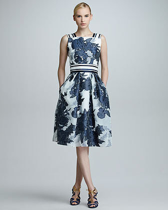 Carolina Herrera Floral Jacquard Organza Dress, Blue