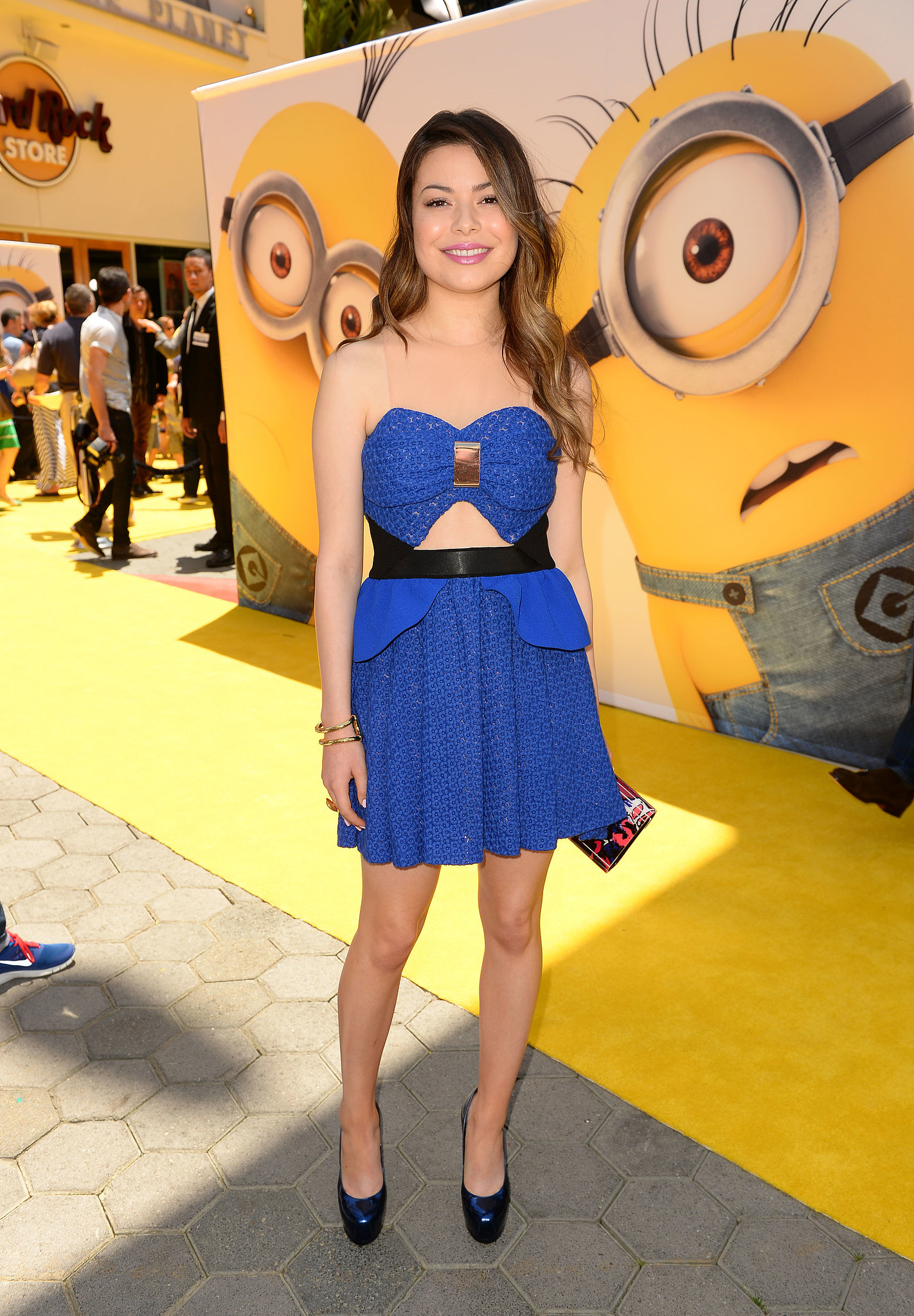 Miranda Cosgrove stood out in a cobalt cutout dress at the Despicable Me 2 premiere in LA.