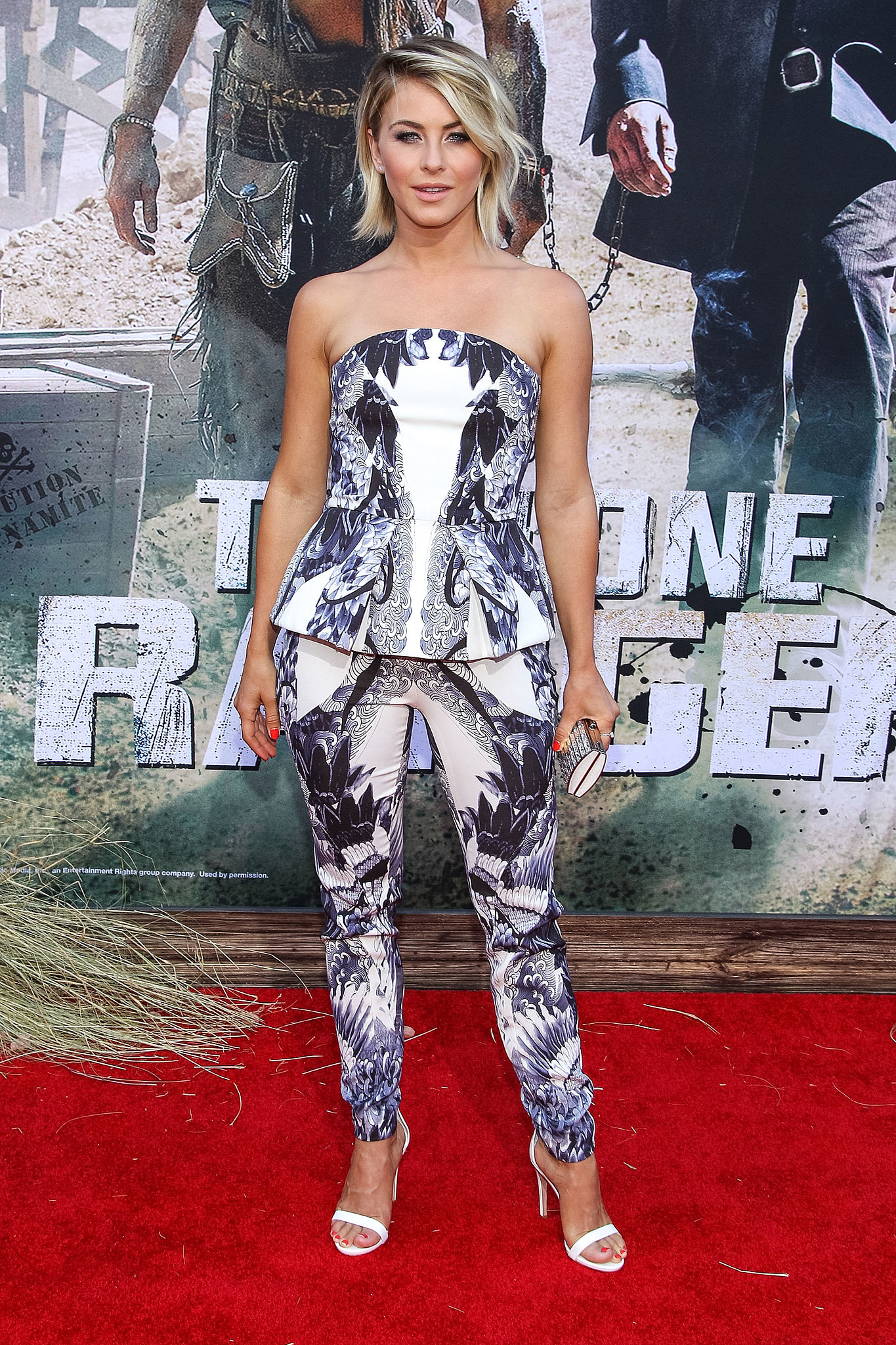 Julianne Hough put her bold prints on display in a strapless peplum top and matching trousers at The Lone Ranger's premiere in Anaheim, CA.