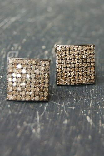 Rona Pfeiffer Square Pave Diamond Stud Earrings Set In Oxidized Sterling Silver