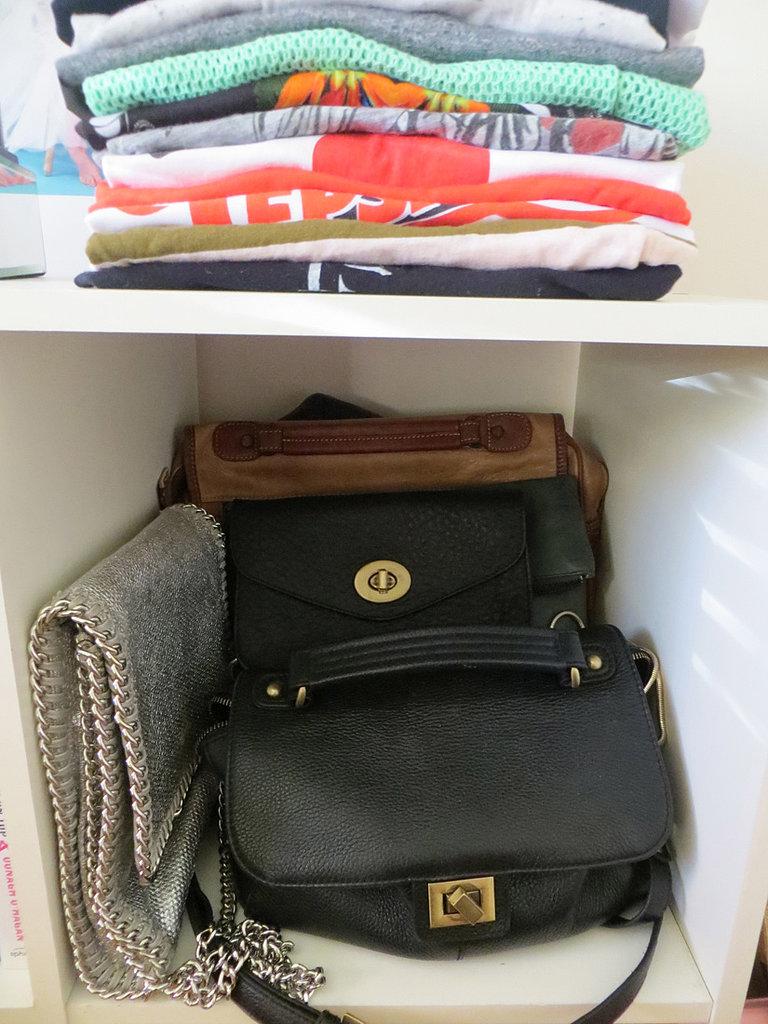 This cube is right near my door, so it's super convenient for me to land my most-used handbags in there at the end of each day. The black satchel bag in front is by Paul & Joe Sister and I have used it nearly every day for the last 8 months. To the left is my go-to party bag by Witchery, the black at the back is also Witchery, and the tan satchel is a vintage Cobb & Co.