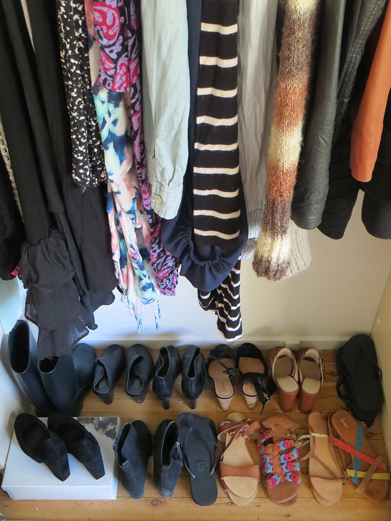 I'm not a huge shoe person — I prefer bags. I wear black ankle boots, ballet flats or my Converse every day, and nighttime usually means something with a block heel that I could totally get away with during the day, too. This limited space explains why I have a few pairs dotted around my room as well.