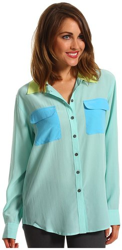 TWO by Vince Camuto - Cool Color Block L/S Utility Shirt (Aqua Sky) - Apparel