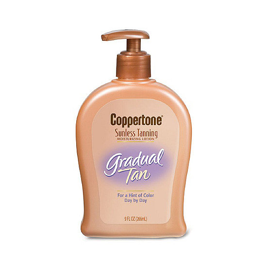 Coppertone Sunless Tanning Gradual Tan ($8, originally $10) combines gentle self-tanning agents with vitamin E and glycerin for moisturizing color that develops over time.