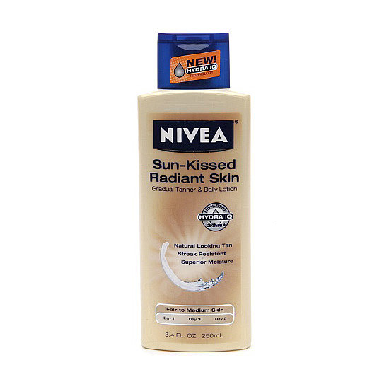 Nivea Sun-Kissed Radiant Skin Gradual Tanner ($10) infuses your skin with nourishing gingko extract and grape seed oil for soft skin, ensuring a more even color.