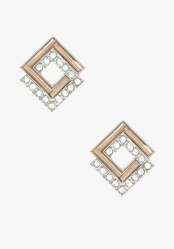 Square Crystal Stud Earrings