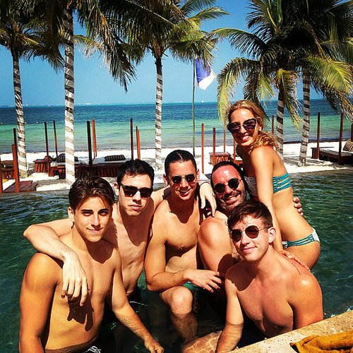 Kevin McHale and his pals hung poolside in Cabo.  Source: Instagram user kevinmchale