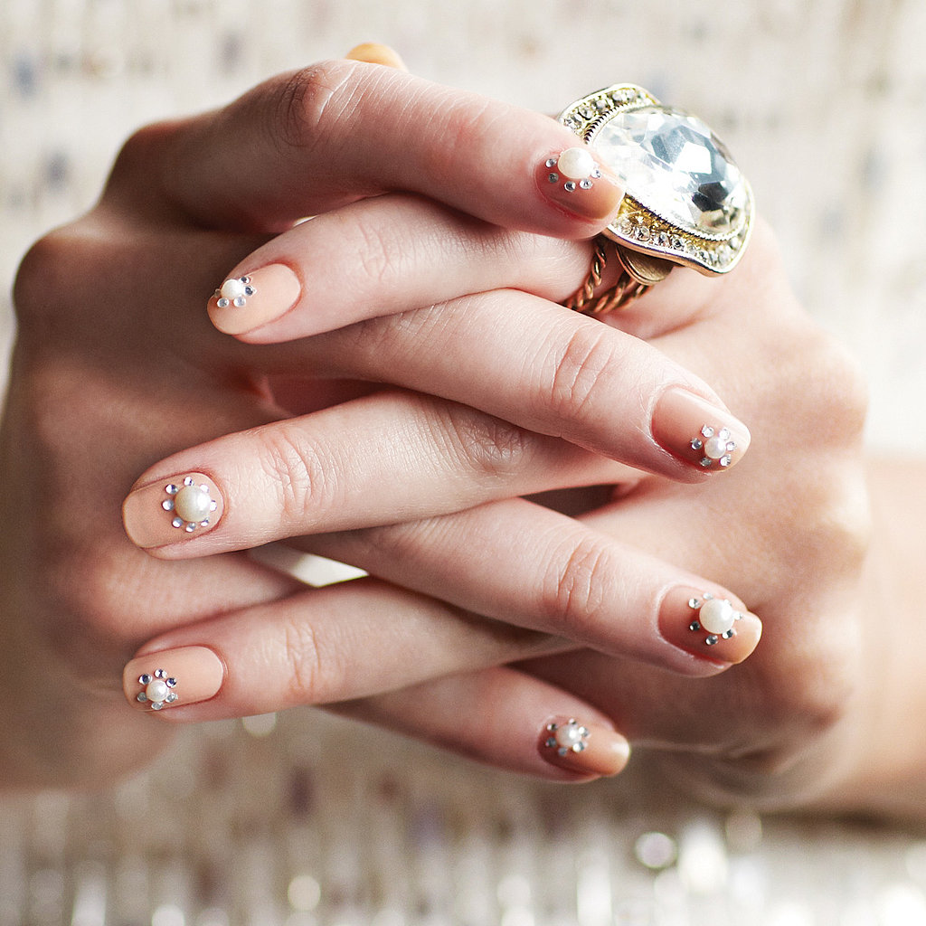 Bridal Rhinestone Nail Art Design
