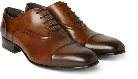 Lanvin Burnished-Leather Oxford Shoes