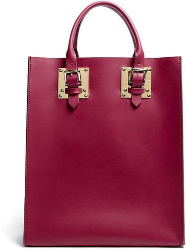 Sophie Hulme Burgundy Leather Structured Medium Buckle Tote