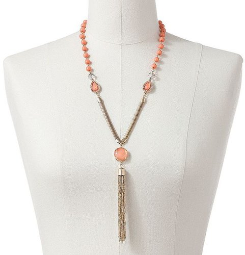 Apt. 9 gold tone bead and simulated crystal y necklace