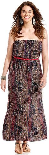 Trixxi Plus Size Dress, Strapless Printed Ruffled Maxi