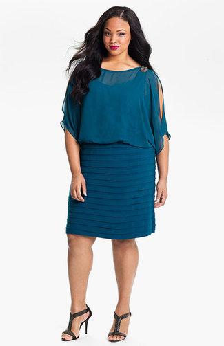 Xscape Beaded Cold Shoulder Dress (Plus Size)