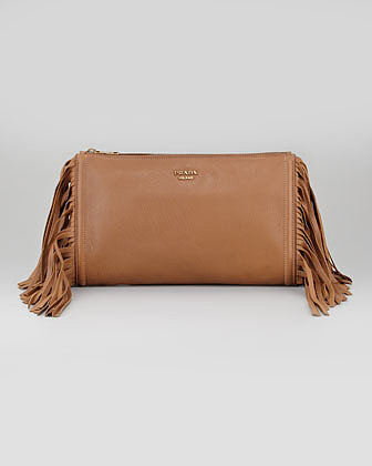 Prada Cervo Fringe Clutch Bag, Dark Camel