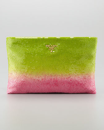 Prada Degrade Sequin Pouch Clutch Bag, Felce