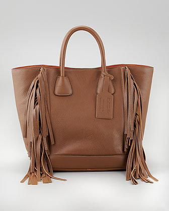 Prada Cervo Fringe Tote Bag, Cammello